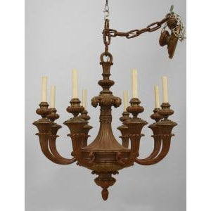 American American Victorian Painted Bronze 8 Light Chandelier For Sale - Image 3 of 3