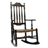 Image of Early 18th Century Black Painted Banister Back Rocking Chair For Sale