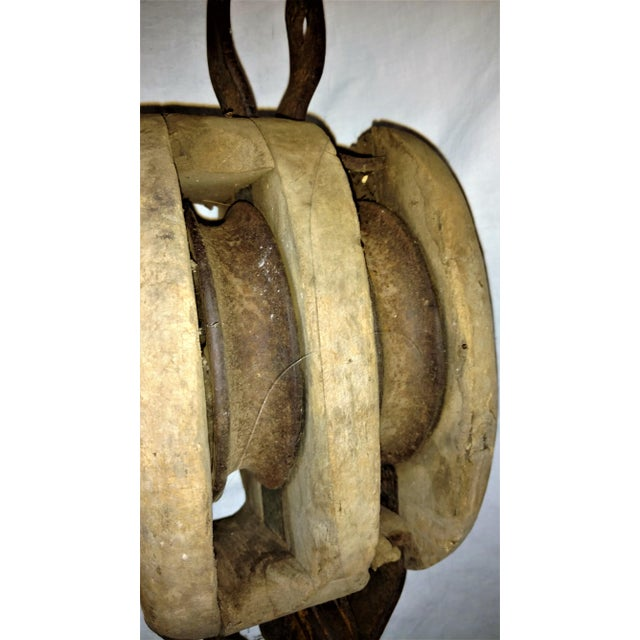 Antique Double Pulley Block and Tackle For Sale In Sacramento - Image 6 of 9