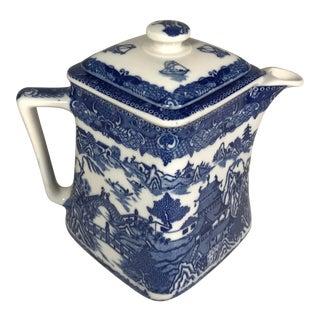 Vintage Blue and White Porcelain Square Tea Pot Pitcher Jug For Sale
