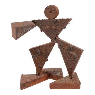 Vintage Geometric Figurative Multi-Media Metal Sculpture For Sale