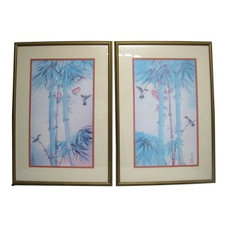 Chinese Birds, Trees, and Flowers Artworks - a Pair For Sale
