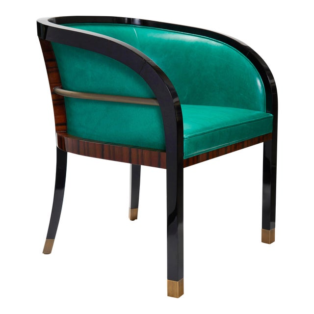 Macassar Ebony Black Lacquer and Bronze Trim Dining or Occasional Chair For Sale