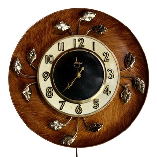 United Mid-Century Modern Brass Leaves Sunburst Wall Clock For Sale