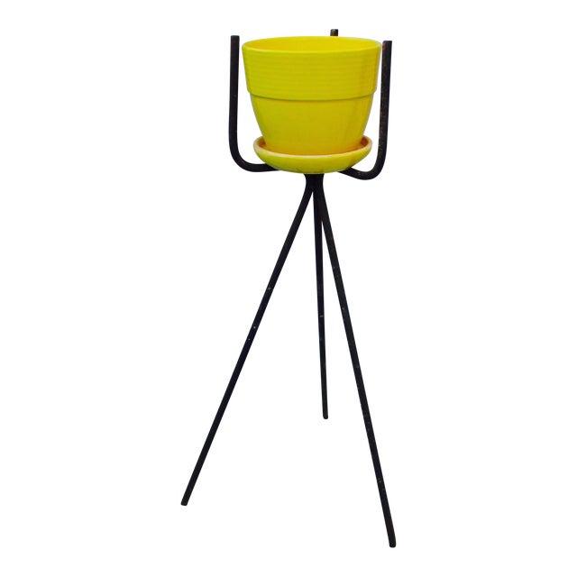 Mid-Century Yellow Ceramic Planter Pot & Iron Tripod Stand - Image 1 of 6