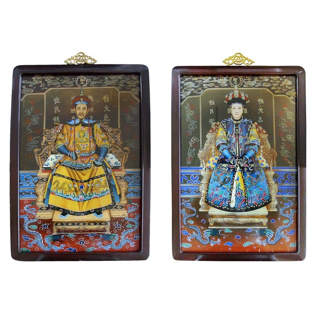 Pair of Églomisé Portraits of a Chinese Emperor & Empress For Sale