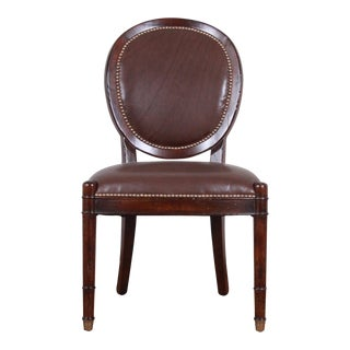Baker Furniture Milling Road Collection Studded Leather Balloon Back Side Chair For Sale