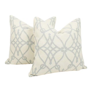 Pale Blue and Ivory Linen Trellis Pillows, a Pair For Sale