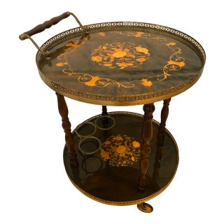 Vintage Italian Inlaid Marquetry Round Bar Cart For Sale