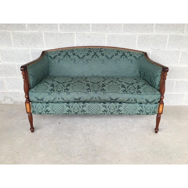 Conover Furniture Federal Style Demask Upholstered Mahogany Loveseat For Sale - Image 10 of 10