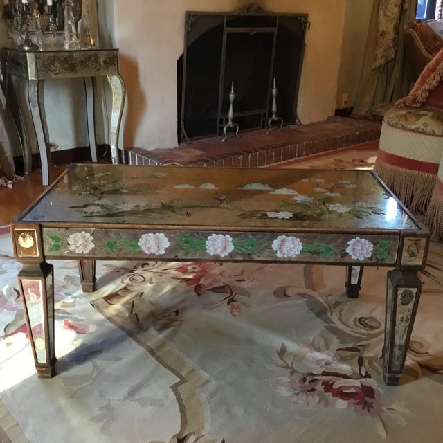 Exquisite reversed painted chinoiserie mirror cocktail table. Great condition. One small crack in glass. 1920's