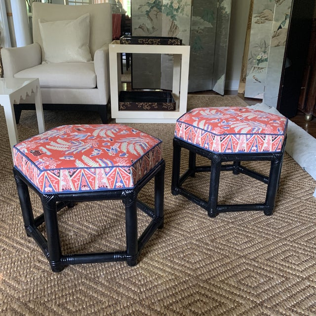 1960s Willow & Reed Chinoiserie Rattan Octagonal Ottomans- a Pair For Sale - Image 9 of 13