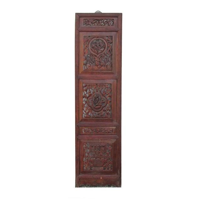 Vintage Chinese Flower Wood Panel - Image 2 of 4