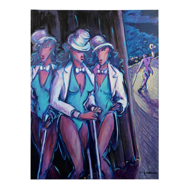 Contemporary Memphis Style Acrylic Painting Signed 3 Graces Backstage 1980s For Sale