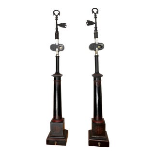 French Black Tole Column Lamps - a Pair For Sale