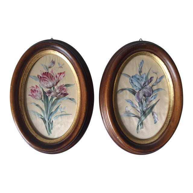 Vintage Florentine Framed Silk Botanicals - A Pair - Image 1 of 7