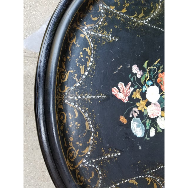 Antique Victorian Paper Mache Mother of Pearl Inlay Coffee Tray Table - Image 7 of 11