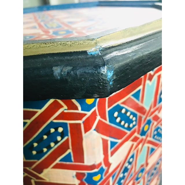 Wood Moroccan Hexagonal Hand Painted Wooden Side Table For Sale - Image 7 of 8