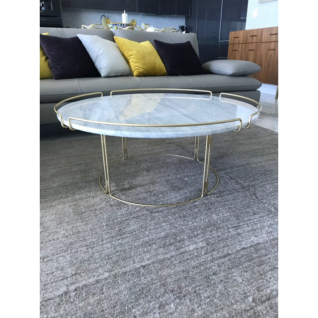 White Bijou Cocktail Table in Marble and Matte Gold by Roche Bobois For Sale - Image 8 of 13