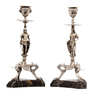Renaissance Revival Silver Plated Candlesticks - A Pair