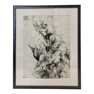 """Birds of Paradise"" Charcoal Drawing For Sale"