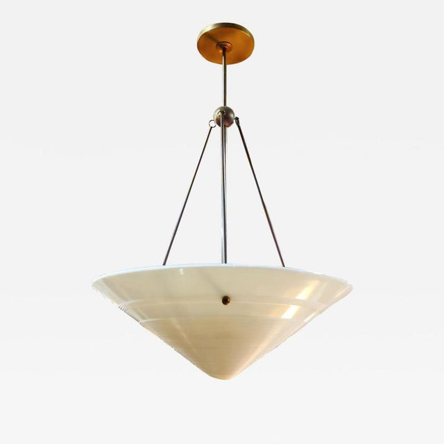 1940s Vintage Milk Glass and Brass Pendant, French For Sale - Image 5 of 5