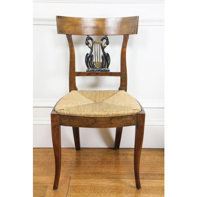 Set of Six Italian Neoclassic Walnut and Ebonized Dining Chairs For Sale - Image 4 of 10