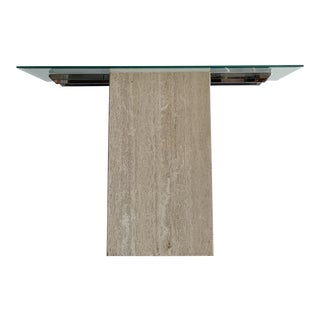 1980s Travertine and Glass Console Table For Sale