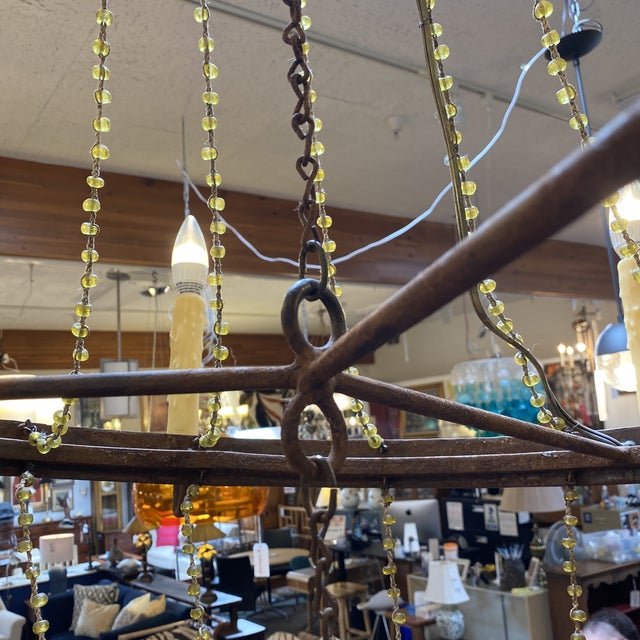 Mid 20th Century 1940's French Six Light Chandelier For Sale - Image 10 of 13