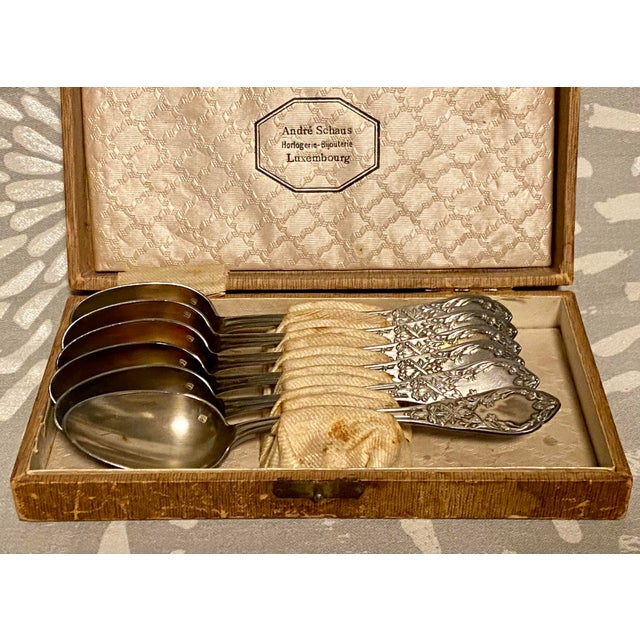 This is a set of antique silver-plate tea spoons from the 1890s manufactured by S.F.A.M. (Societe Francaise d'Alliages et...