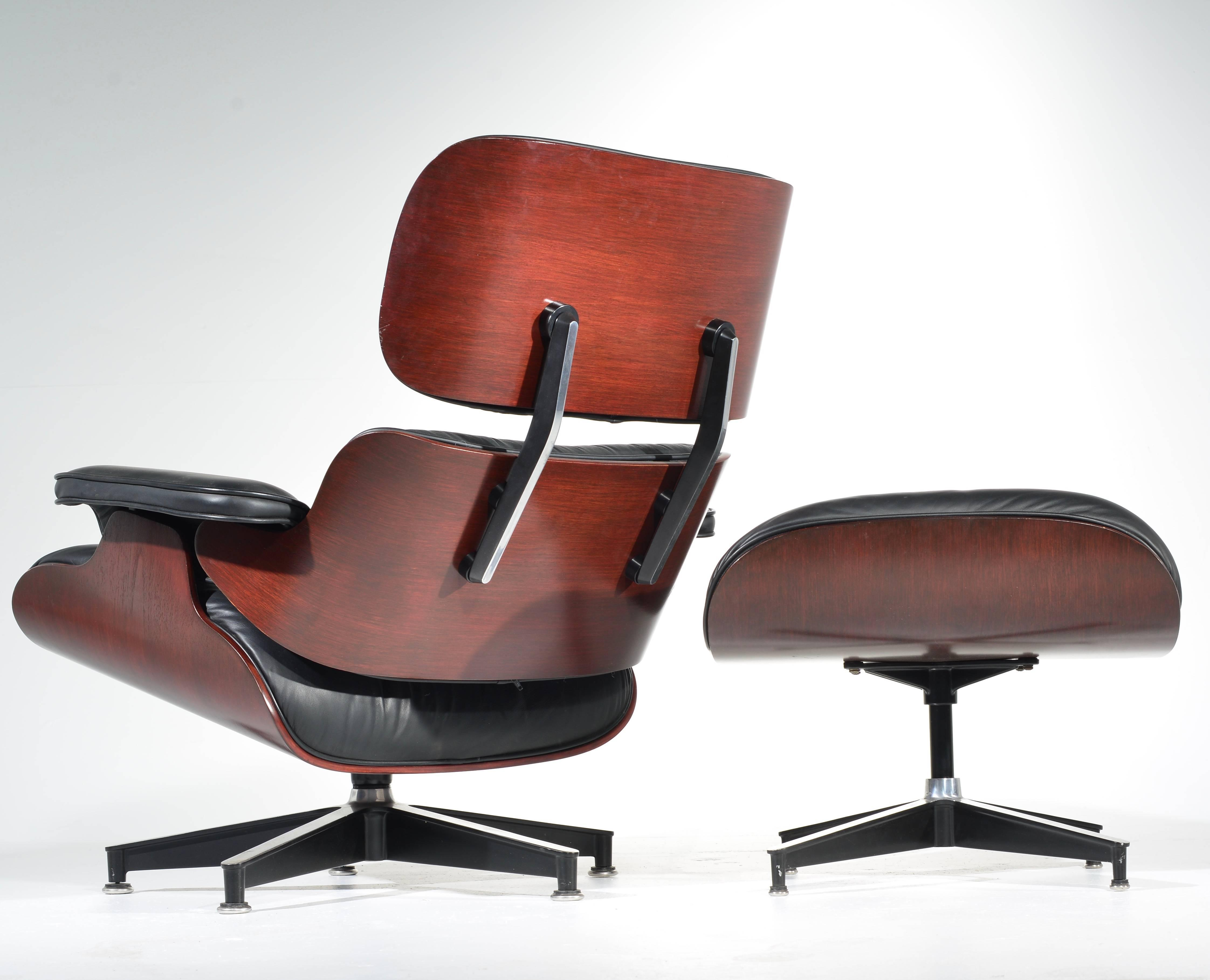 Modern Charles And Ray Eames Cherry And Leather 670 Lounge Chair And 671  Ottoman For Sale