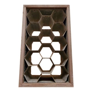 Vintage Rustic Wood and Patinated Metal Honeycomb Fourteen Bottle Wine Holder Rack For Sale