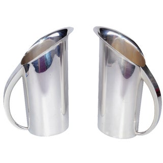 Silver-Plate Streamline Pitchers - A Pair For Sale