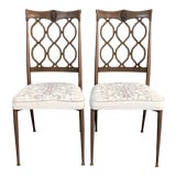 Image of 1970s Vintage Hollywood Regency Loop Back Vintage Dining Chairs- A Pair For Sale