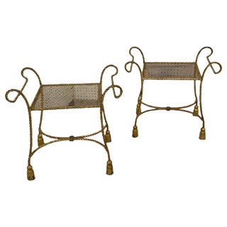 Pair of Italian Hollywood Regency Gilt Meal Rope and Tassel Motif Benches For Sale