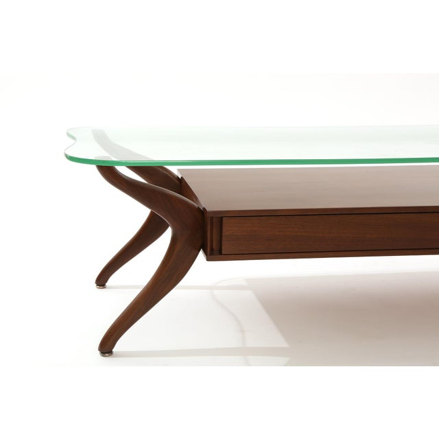Free Form Walnut and Glass Cocktail Table For Sale - Image 4 of 6