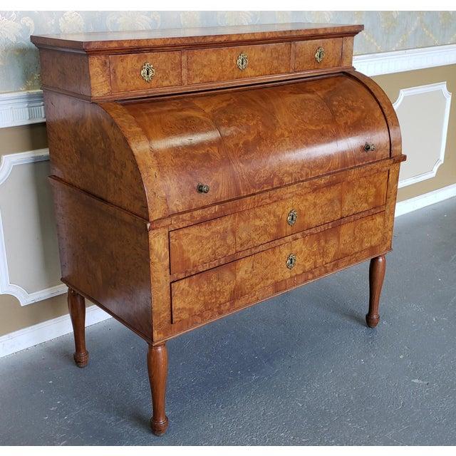 Wood Restored Antique 19th Century Burled Elm Roll Top Cylinder Desk C1860 For Sale - Image 7 of 13