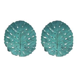 Tropical Leaf Wall Hanging Sconces - A Pair For Sale