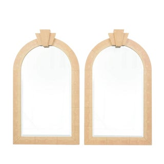 Large Karl Springer Art Deco Leather Mirrors - a Pair For Sale