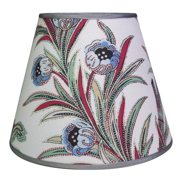 French Provincial Floral Print White Lampshade For Sale