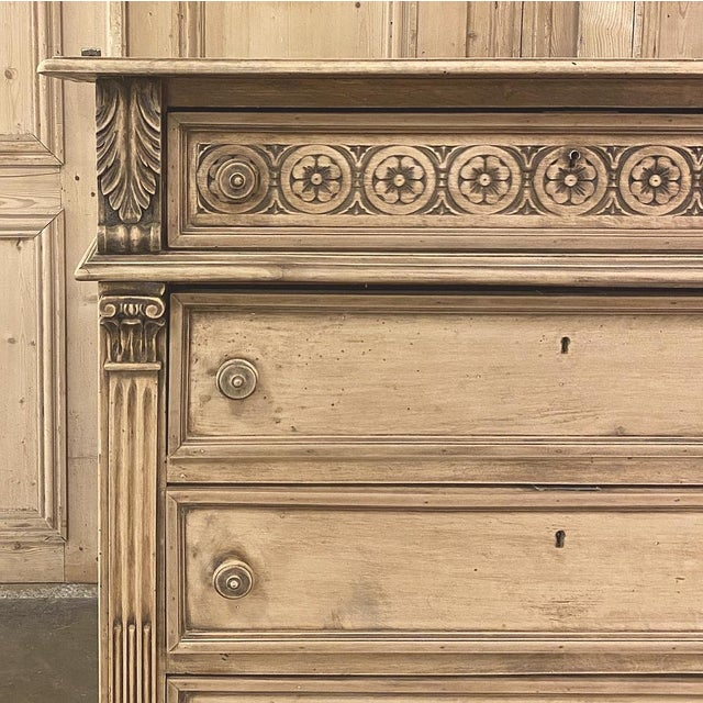 Wood Antique Italian Renaissance Stripped Walnut Commode For Sale - Image 7 of 13