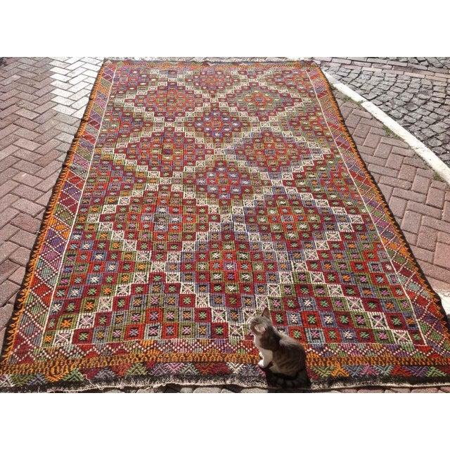 """Vintage Turkish Kilim Rug - 6'9"""" X 10'4"""" - Image 3 of 8"""
