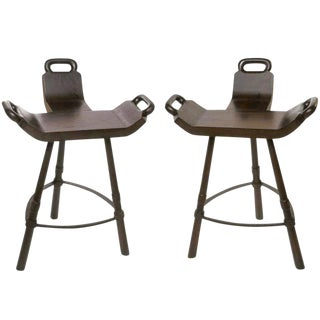 Pair of Primitive Asian Birthing Chair Inspired Bar Stools For Sale