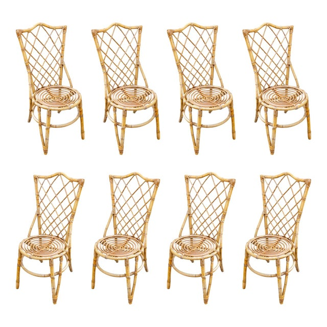 Vintage French Bamboo and Rattan Dining Chairs- Set of 8 For Sale - Image 13 of 13