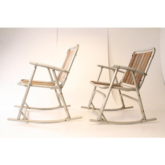 Adirondack Vintage Redwood & Aluminum Folding Rocking Chairs - A Pair For Sale - Image 3 of 11