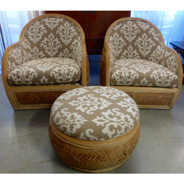 Mid Century Rattan Chairs & Ottoman - A Pair - Image 2 of 8