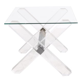 Pair Low Tables Brass, Lucite and Glass Maison Jansen, France 1980