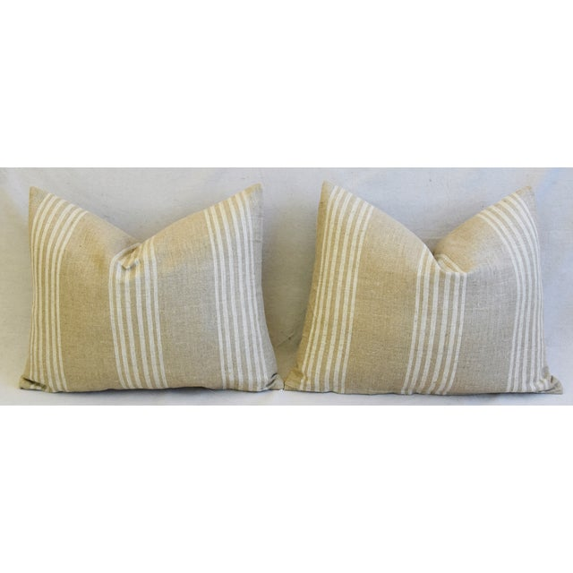 """Tan & White French Cotton & Linen Ticking Feather/Down Pillows 21"""" X 16"""" - Pair For Sale In Los Angeles - Image 6 of 12"""