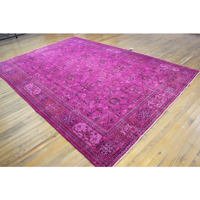 Hot Pink Overdyed Hand Woven Rug - 6′10″ × 10′1″ - Image 3 of 7