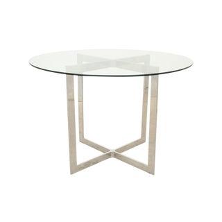 Milo Baughman Style Round Chrome & Glass Table